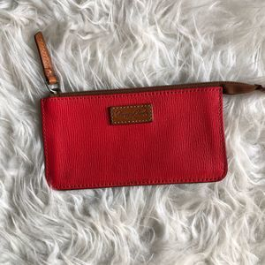 Dooney & Bourke Pebbled Leather Red Pouch Wallet